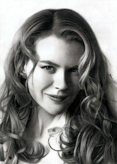 Pencil portrait Nicole Kidman by Stan Bossard