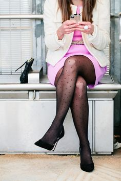 pink dress + dotted tights