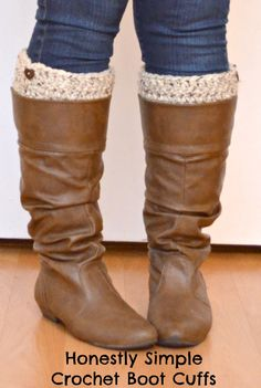Free crochet pattern to make Crochet Boot Cuffs via oneartsymama.com