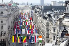 London's iconic Regent Street welcomes the world with flags from each Olympic nation.