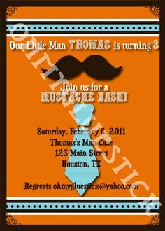 Mustache Bash Printable Invitation by Oh My Gluestick  $15
