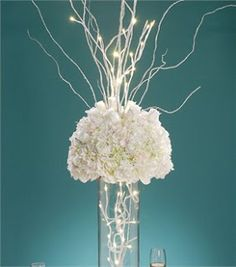 lights, reception decorations, idea, tree branch, white, flowers, centerpieces, david tutera, branches