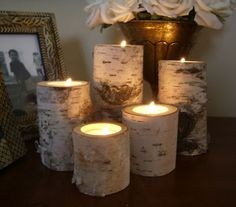 birch tealight holders
