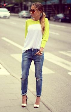 Slouchy neon tee and paired with boyfriend jeans