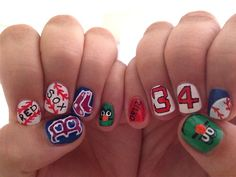 Red Sox Nail Design..only with #2 Ellsbury Baseball Nails Team, Boston Nails, Fingernail Design, Design Ideas, Fun Nails, Sports Nails Design, Sox Nails, Boston Redsox, Nails Design On