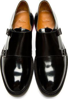 Paul Smith: Black Monk Strap Pitt Shoes, Men's Fall Winter Fashion.