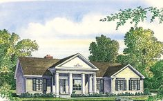 Wide columns give this one level Colonial style home an air of elegance.  Colonial House Plan # 291057.