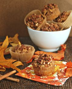 Maple Spiced Sweet Potato Muffins with Spiced Pecans