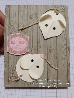 "By Jamie Albanese, a cute punch art mouse, featuring Stampin' Up! ""Hardwood"" background stamp, ""Label Love"" stamp set and Coordinating Artisan Label Punch ..."