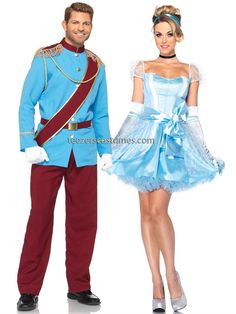 Prince Charming Cinderella Couples Costumes, Adult Halloween Costumes