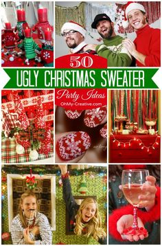 50 Ugly Christmas Sweater Party Ideas  |  OhMy-Creative.com ugly christmas sweater party, rehearsal dinners, rehears dinner, christmas theme party ideas, christmas sweaters, christma sweater, christmas ugly sweater party, parti idea, sweater parti