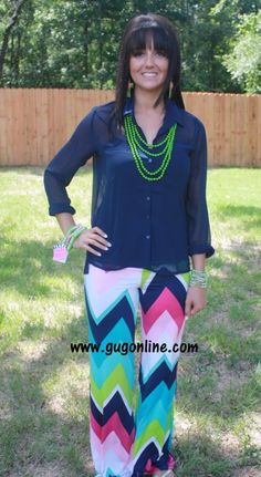 Baby, Get Your Chevron Multi Color Pants www.gugonline.com $29.95