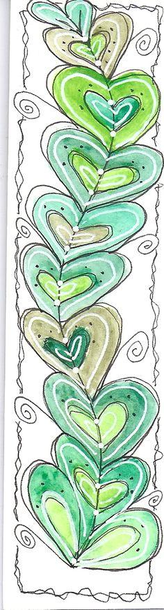 doodle art bookmark, doodl bookmark, doodl heart