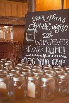 Wedding Party mason jar drinks!  A variety of mason jars with Handles at  www.FillmoreContainer.com