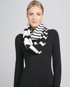 kate spade new york fall in line infinity scarf, cream/black - Neiman Marcus