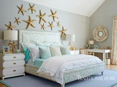 """Large Starfish Sculptures above Bed Wall Decor Idea... <a href=""""http://www.completely-coastal.com/2016/09/above-the-bed-wall-decor-ideas.html"""" rel=""""nofollow"""" target=""""_blank"""">www.completely-co...</a>"""