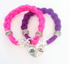 BFF Paracord Charm Bracelets by ChelseaCarrollDesign on Etsy, $32.00