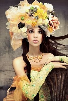 hats, yellow flowers, fashion models, flower crowns, headpiec, beauti, flower girl, floral, antiques