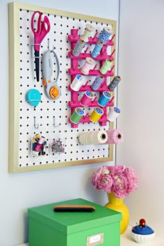 Cut-to-fit pegboard + Ikea Ribba frame = easy peasy storage project!!  IHeart Organizing: The Easiest Pegboard Project Ever!