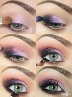 I love these purples.  Depends on the dress of course, but maybe I'll have Brittney test this out on me! - Stylish and Beautiful: Eye Makeup Photo Tutorials.