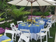 Blue and Yellow Tables
