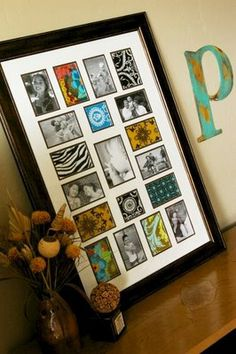 Photos and scrapbook paper or material in collage frame
