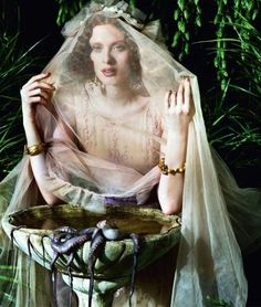 Channeling Pre-Raphaelite painting: Karen Elson photographed by Jeff Bark for Porter #2, Summer 2014.