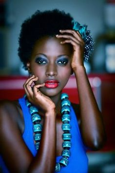 Blue looks great with dark skin natural skin, face, model, color blue, colors, makeup, natur hair, black beauti, blues