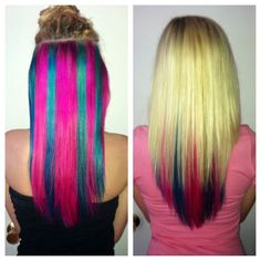 Blonde Hair With Blue & Pink Underneath