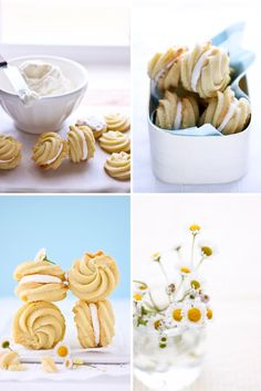 Lemon Cream Cookies - Cannelle et Vanille. The filling is swiss buttercream flavored with lemon zest, lemon oil and sandwiched between two lemon spritz cookies. The cookies are piped into rosettes and baked to a light golden brown. buttery and crumbly goodness