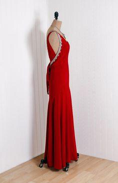 1930's B Altman Ruby-Red Beaded Rhinestone Silk-Rayon Bias-Cut  Evening Dress