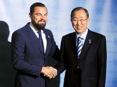 Leonardo DiCaprio shakes hand with UN Secretary General Ban Ki-Moon after being named a Messenger of Peace on Saturday in New York City.