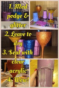 Mod podge & glitter glasses.