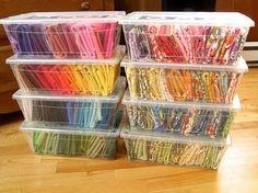 Plastic bins to organize fabric scraps