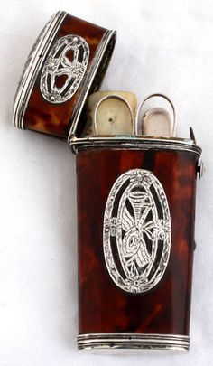 late C18th / early C19th Continental silver & tortoiseshell etui, with fittings, 3.7ins