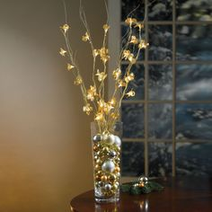 Set Of 5 Cordless Pre-Lit Gold Floral Branches | The Gift Shop | Brylanehome