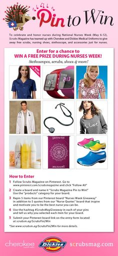 """Nurses, enter for a chance to win free prizes from @Cherokee Delafontaine Scrubs @Dickies Scrubs @CodeHappyStore Submit your """"Scrubs Magazine Pin to Win"""" Pinterest board to http://scrubsm.ag/ScrubsPin2Win"""