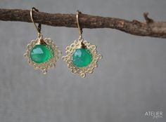 Freeform Circle & Green Onyx Earrings by ATELIERGabyMarcos on Etsy, $65.00