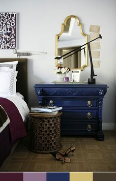 dark blue dresser ...love the lion knobs