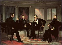 """The Peacemakers"" (painted 1868 by George P.A. Healy) - Maj. Gen. William T. Sherman, Lt. Gen. Ulysses S. Grant, President Abraham Lincoln, and Rear Adm. David D. Porter."