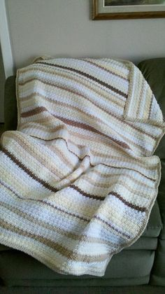 Inspiration :: Striped Blanket, by seasidestitcher.  Nice combination of soft, neutral colors.   #crochet #color