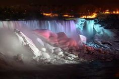 Niagara Falls in winter. The illumination is extra beautiful against the ice and snow.