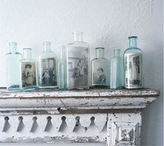 glass bottles as picture frames