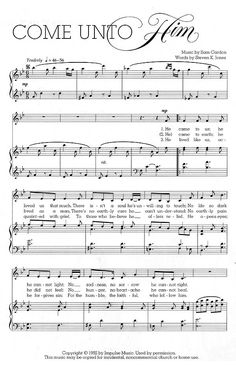 Music, Come unto Him, download on youth website. seminary music