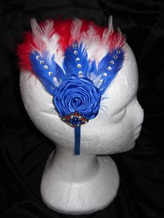 Patriotic feather headband, perfect for Pageant contestants.  Visit us on FaceBook Mini Diva Creations