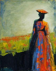 """Walk in the Sunshine"" by Shelby McQuilkin abstract figurative, oil painting, contemporary artwork, colorful, woman,"