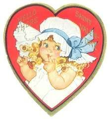 Vintage 1940s Valentine Greeting Card Heart Shaped Girl Bonnet ...