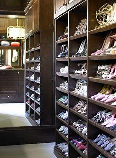 Shoe shelves in a walkin closet