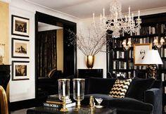 black, gold, yellow, living room