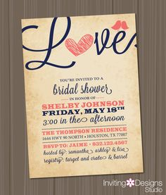 Bridal Shower Invitation, Love, Birds, Heart, Navy Blue, Coral, Rustic, Customize Your Color (PRINTABLE FILE) on Etsy, $18.00